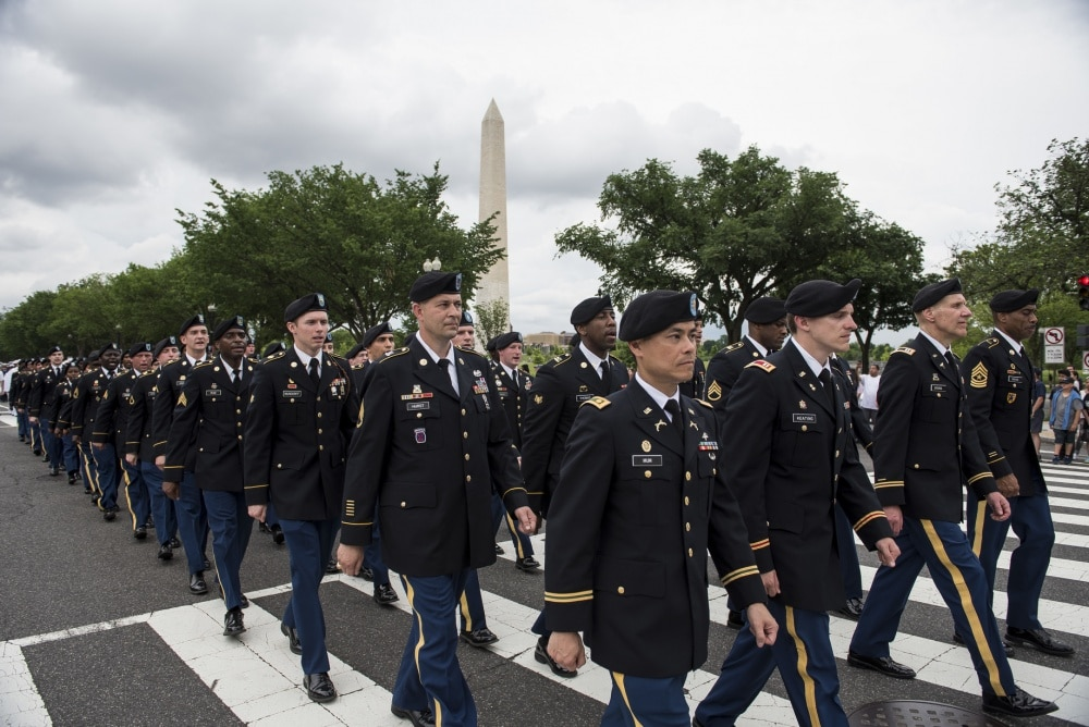 Soldiers march at 2016 National Memorial Day Parade