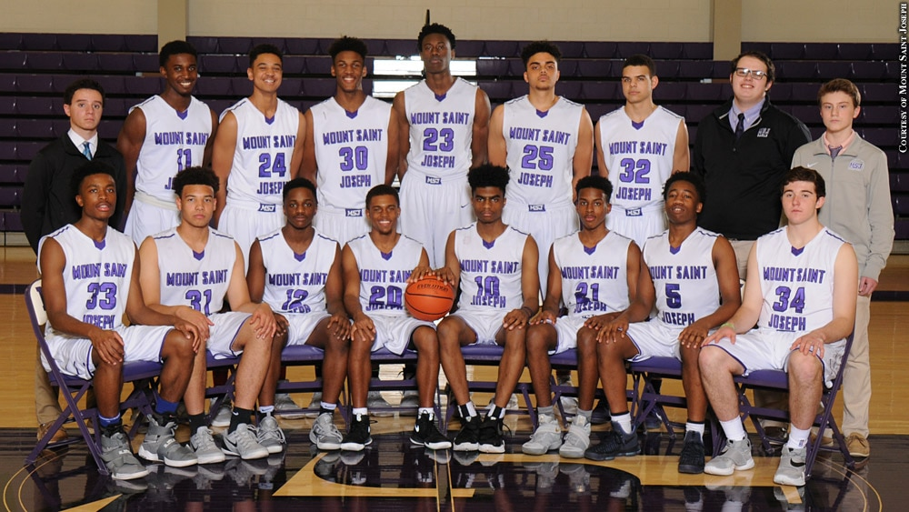 Issue 258: Mount Saint Joseph 2016-17 basketball team photo with Darryl Morsell and Jalen Smith