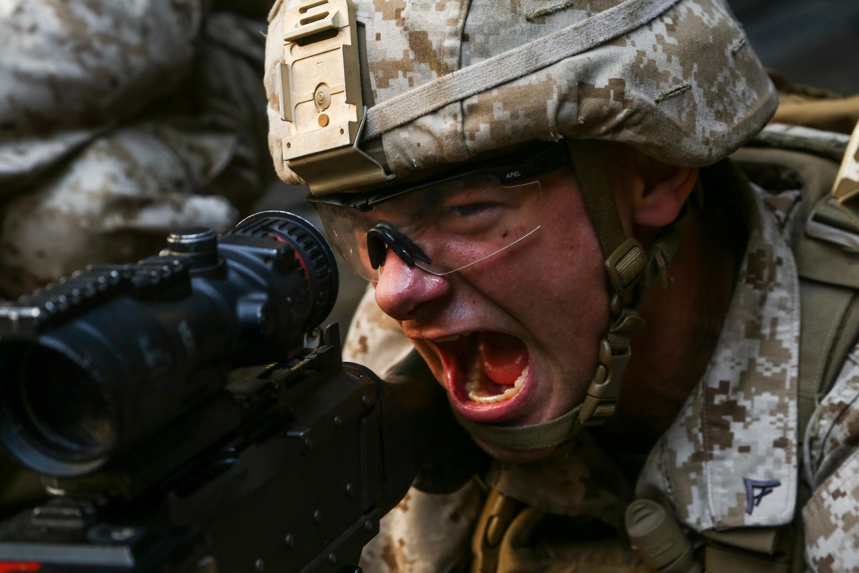 Marine with machine gun.