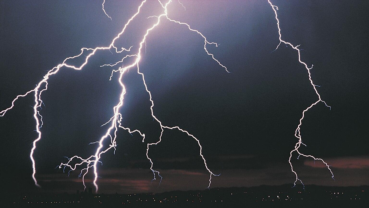 night sky clouds lightning forest HD wallpaper