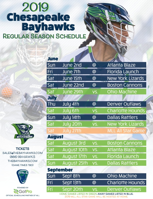 2019 Chesapeake Bayhawks Schedule Graphic