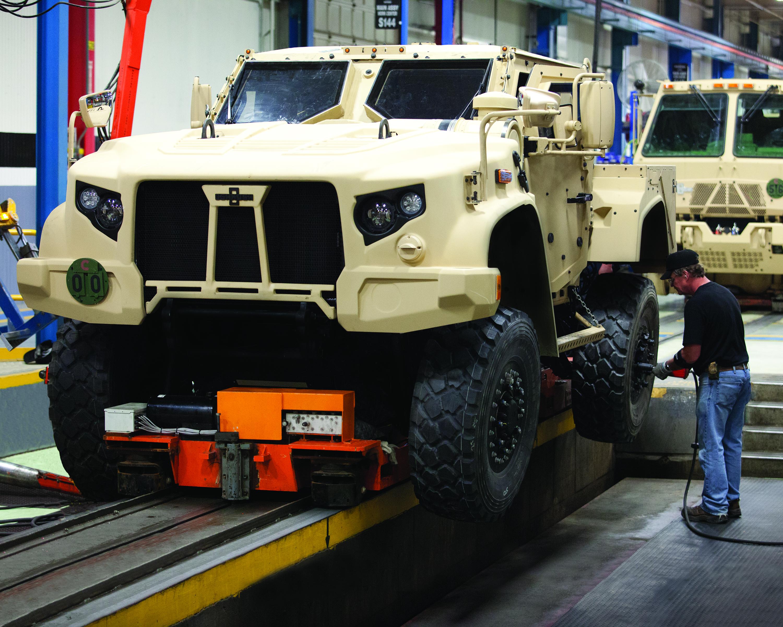 Oshkosh defense chief jltv production line prepped for for Europe garage seat