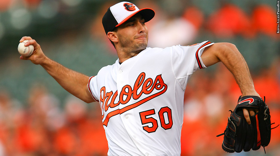Orioles 2015: Miguel Gonzalez (arm up)