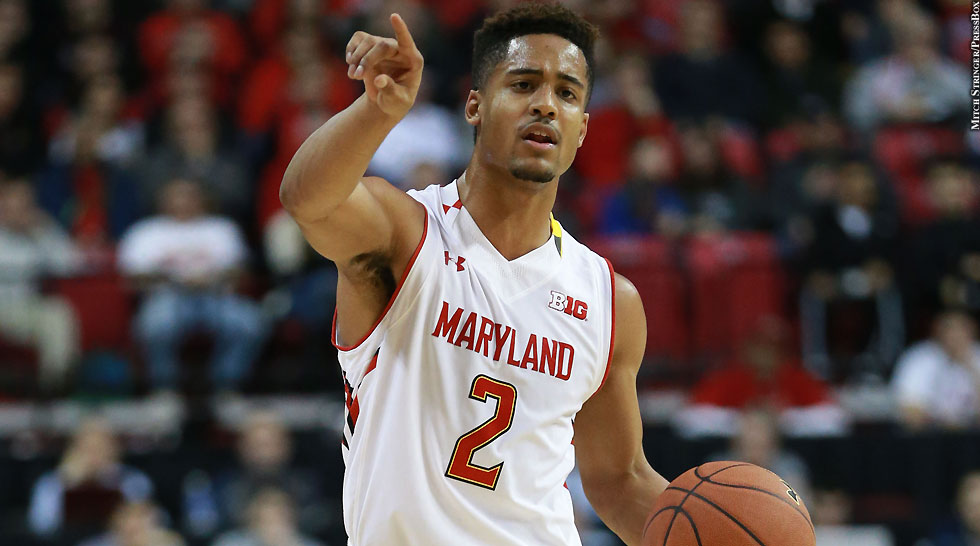 Maryland Terps Basketball 2014-15: Melo Trimble (pointing, vs. Northwestern)