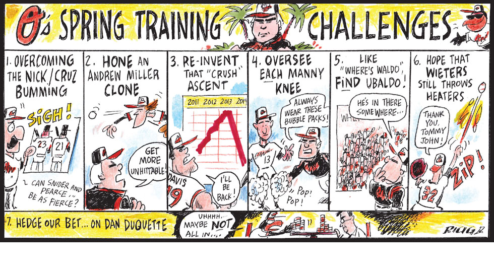 Issue 206: Cartoons By Ricig: Orioles Spring Training Challenges