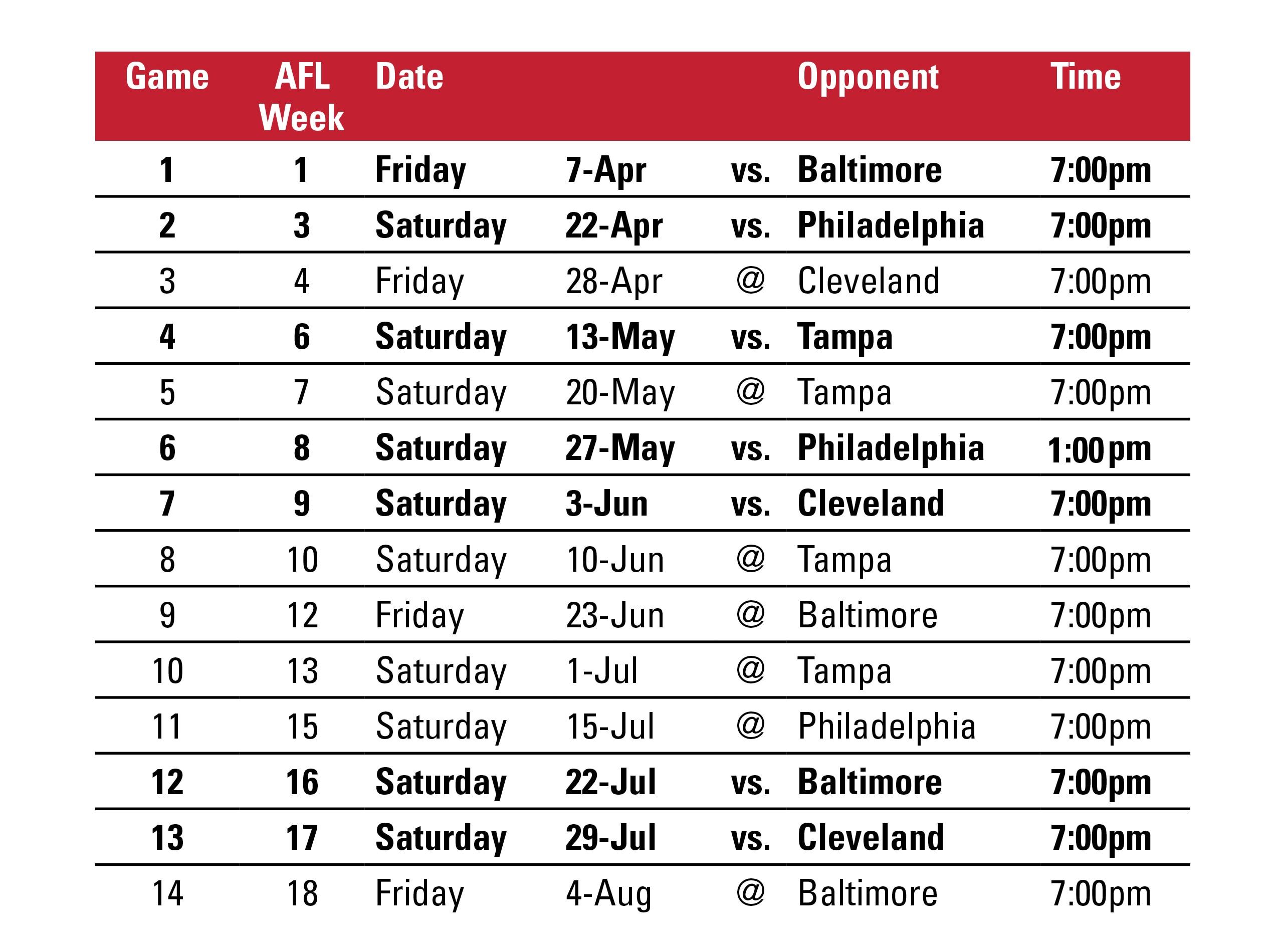 Valor Schedule