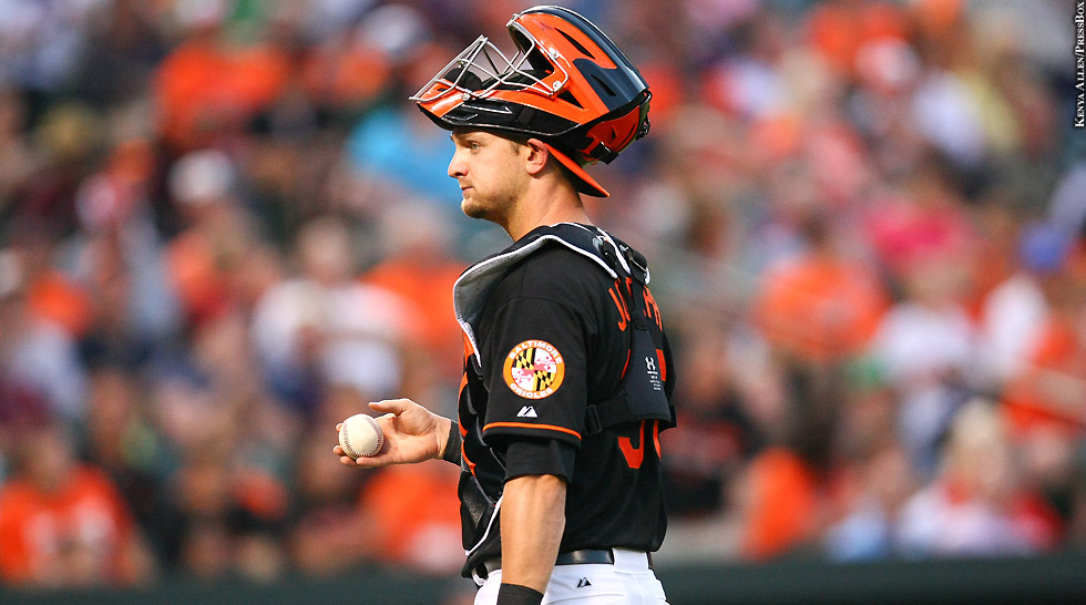 Orioles 2015: Caleb Joseph (mask up, black jersey)