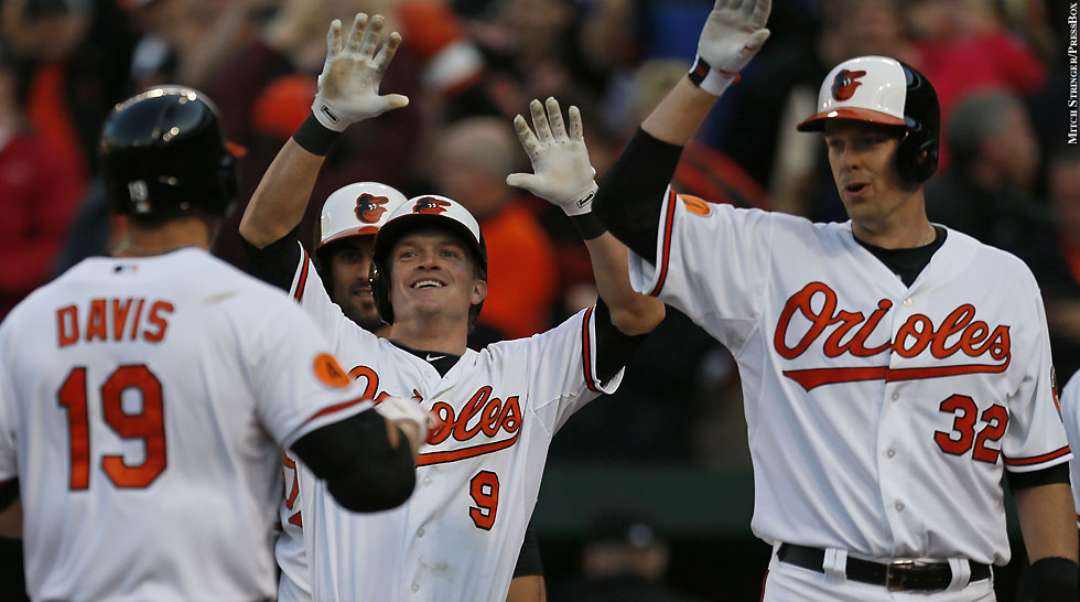 Orioles 2013: Chris Davis, Nate McLouth and Matt Wieters (Opening Day, celebrate)