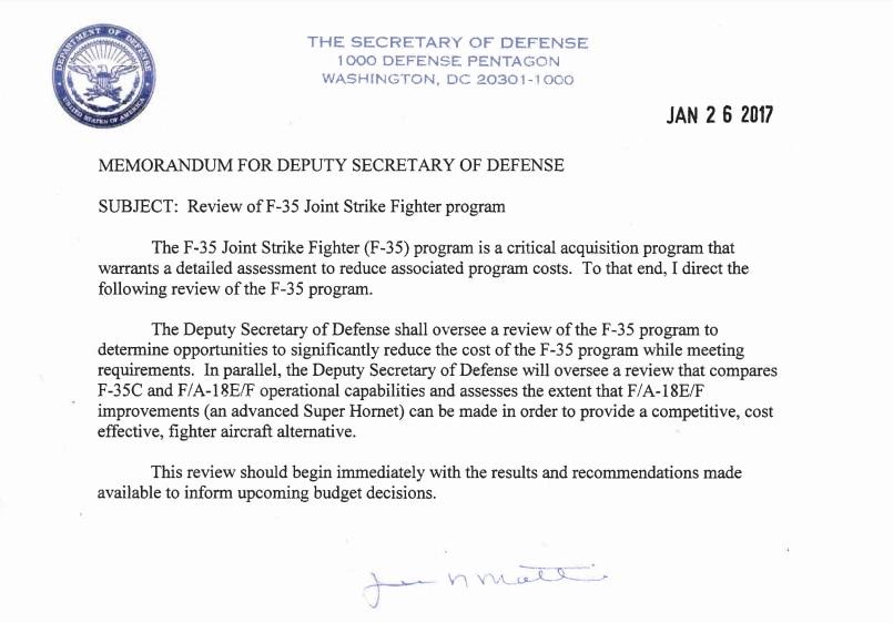 Mattis memo F-35c vs. F/A-18