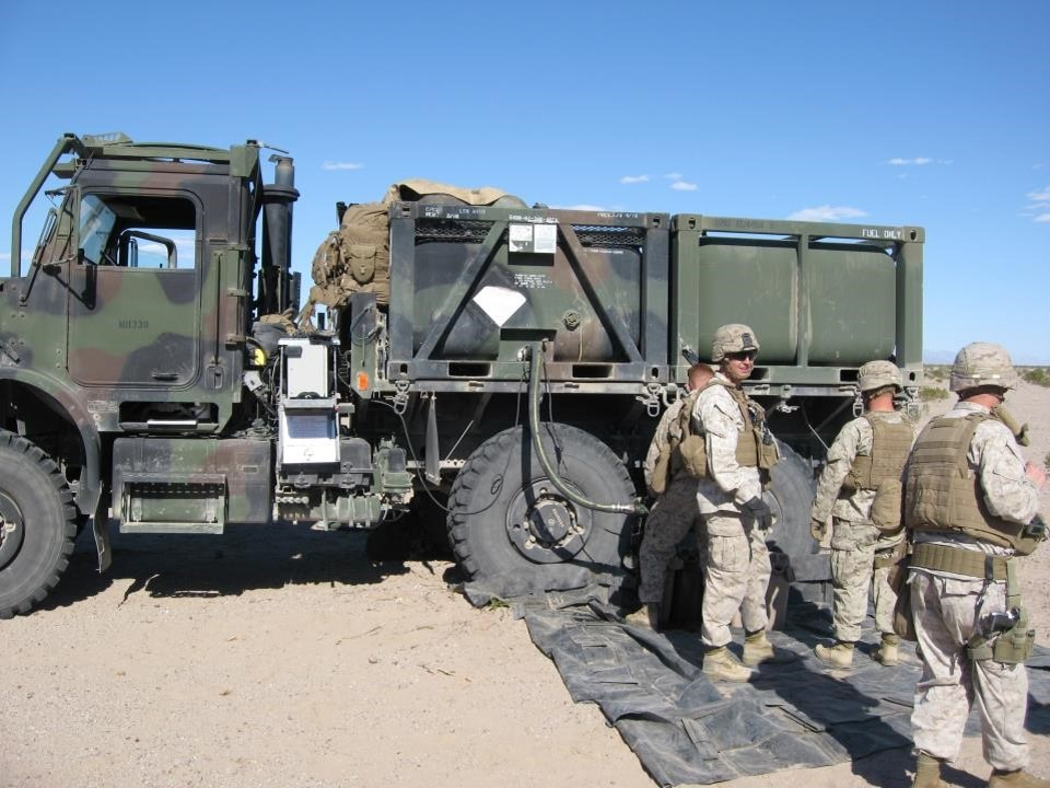 Marines refuel truck