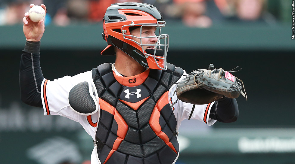 Orioles 2015: Caleb Joseph (throwing)