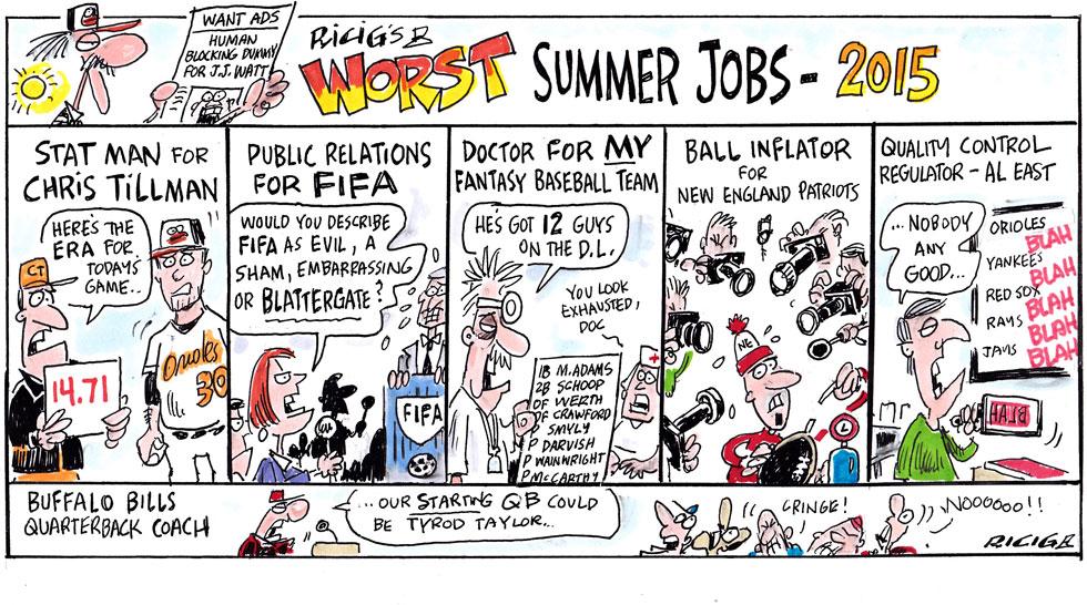 Issue 210: Ricig Cartoon: Ricig's Worst Summer Jobs of 2015