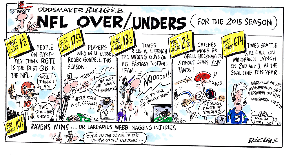 Issue 213: Ricig Cartoon: NFL Over/Unders For The 2015 Season