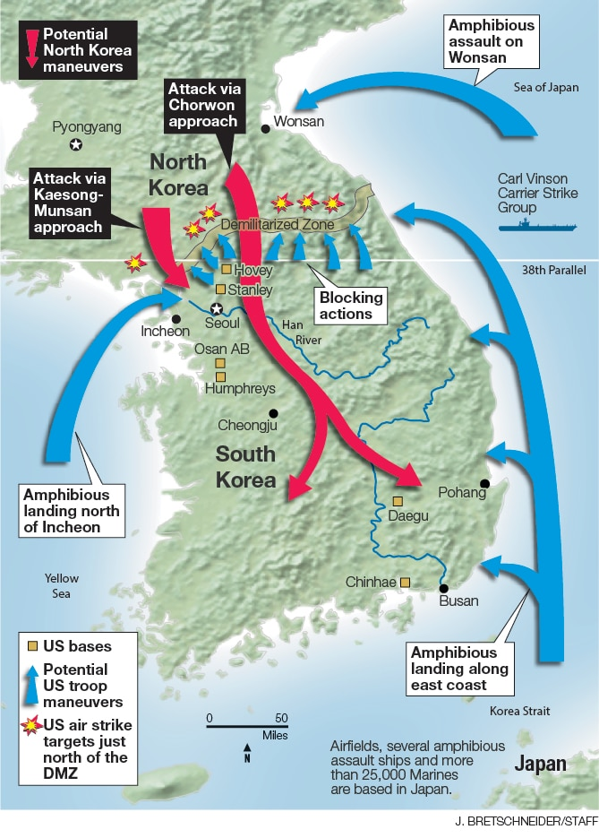 War with north korea an inside look at how us troops would respond a full scale conventional war against north korea would devastate the korean peninsula military experts predict north korean forces will pour into the gumiabroncs Gallery