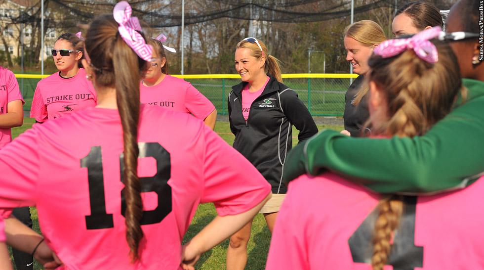 Issue 218: Stevenson Softball Coach Joey Lye (pink shirts)
