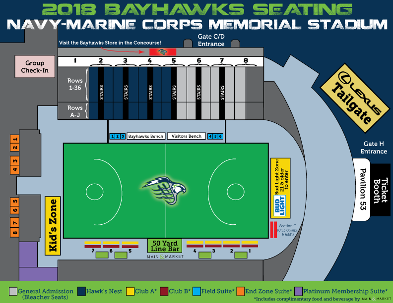 2018 Bayhawks Seating Map