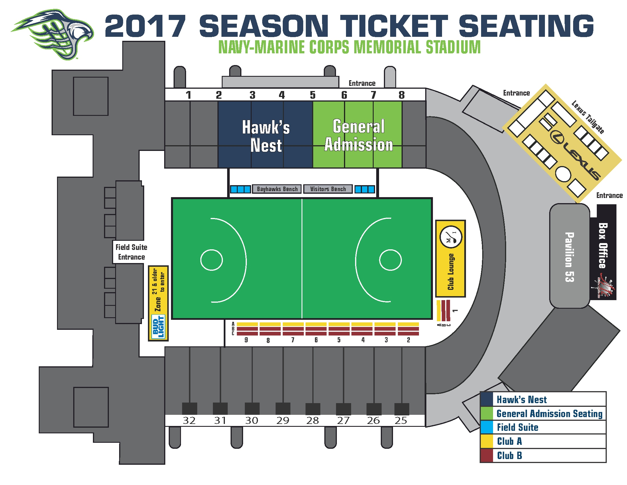 Please contact the Bayhawks Ticket fice for more details on seating location and private suites at 866 99 HAWKS