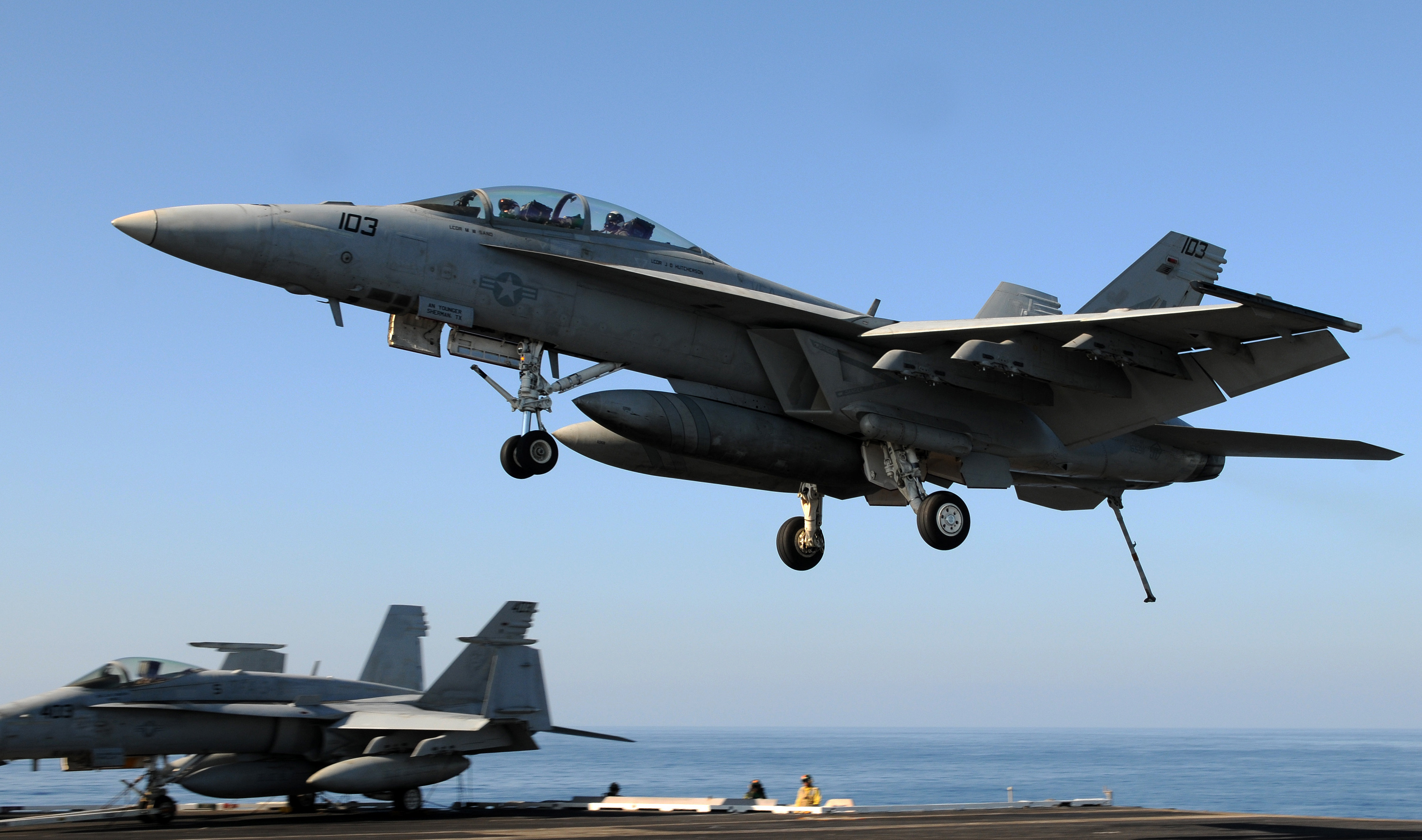 F/A-18F Super Hornet prepares to land