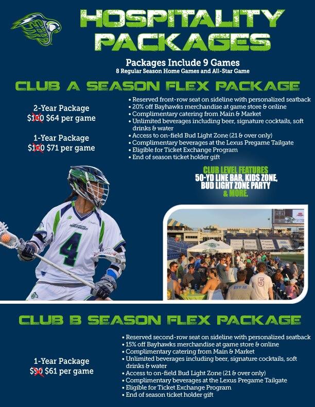 2019 Chesapeake Bayhawks Club Season Flex Packages