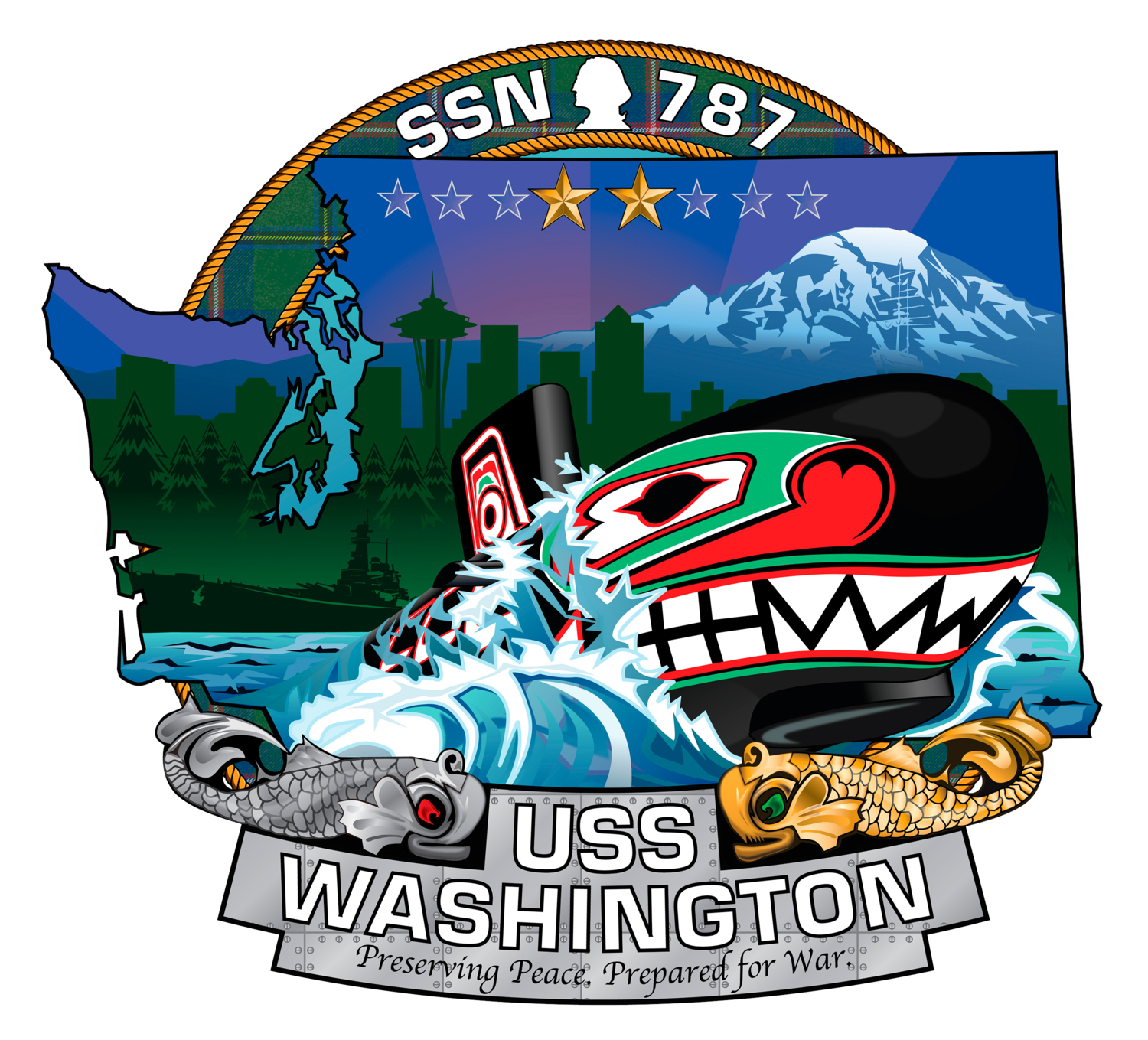The ship's crest of the Virginia-class attack submarine USS Washington (SSN 787).