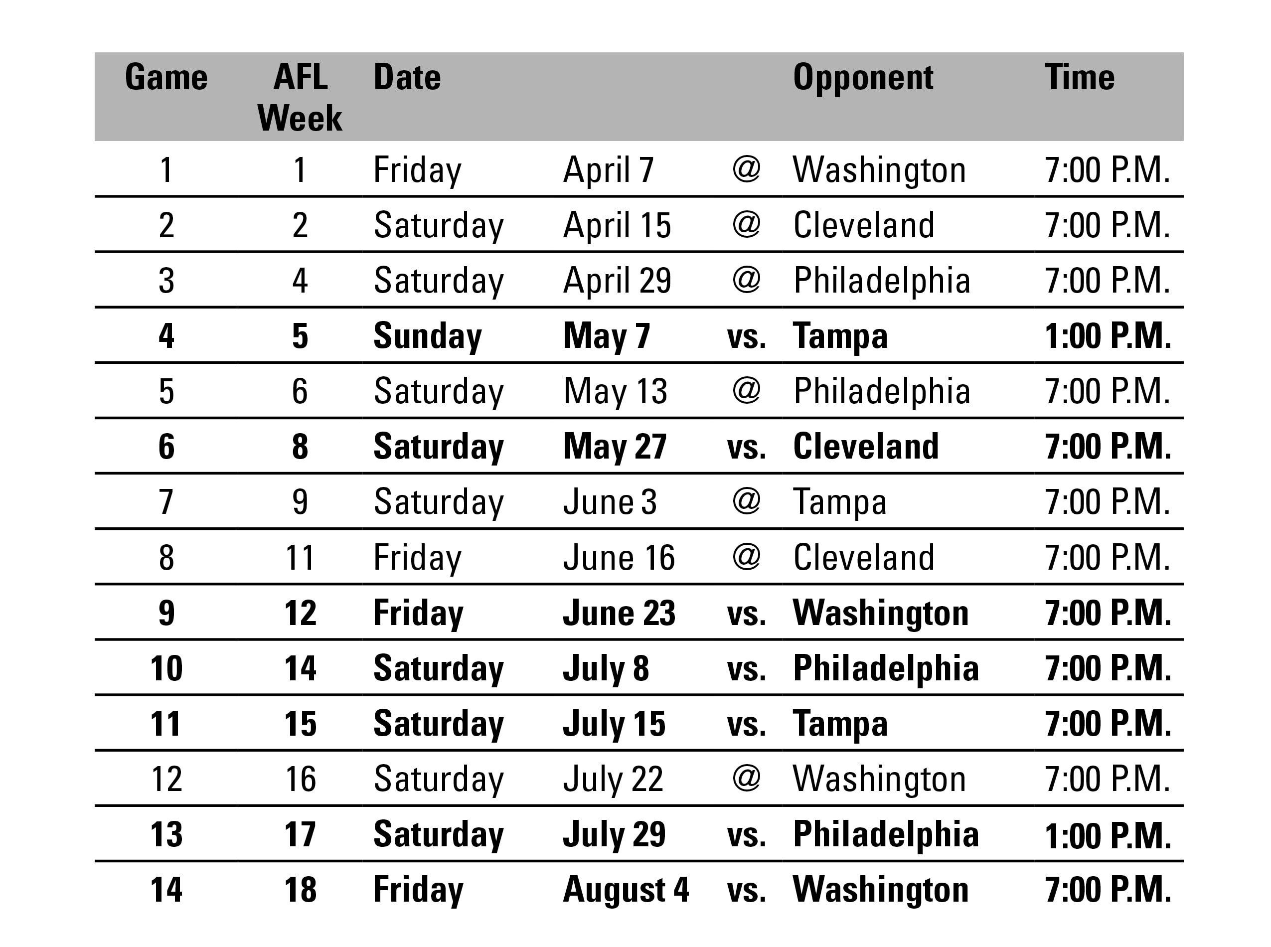 Baltimore AFL Schedule