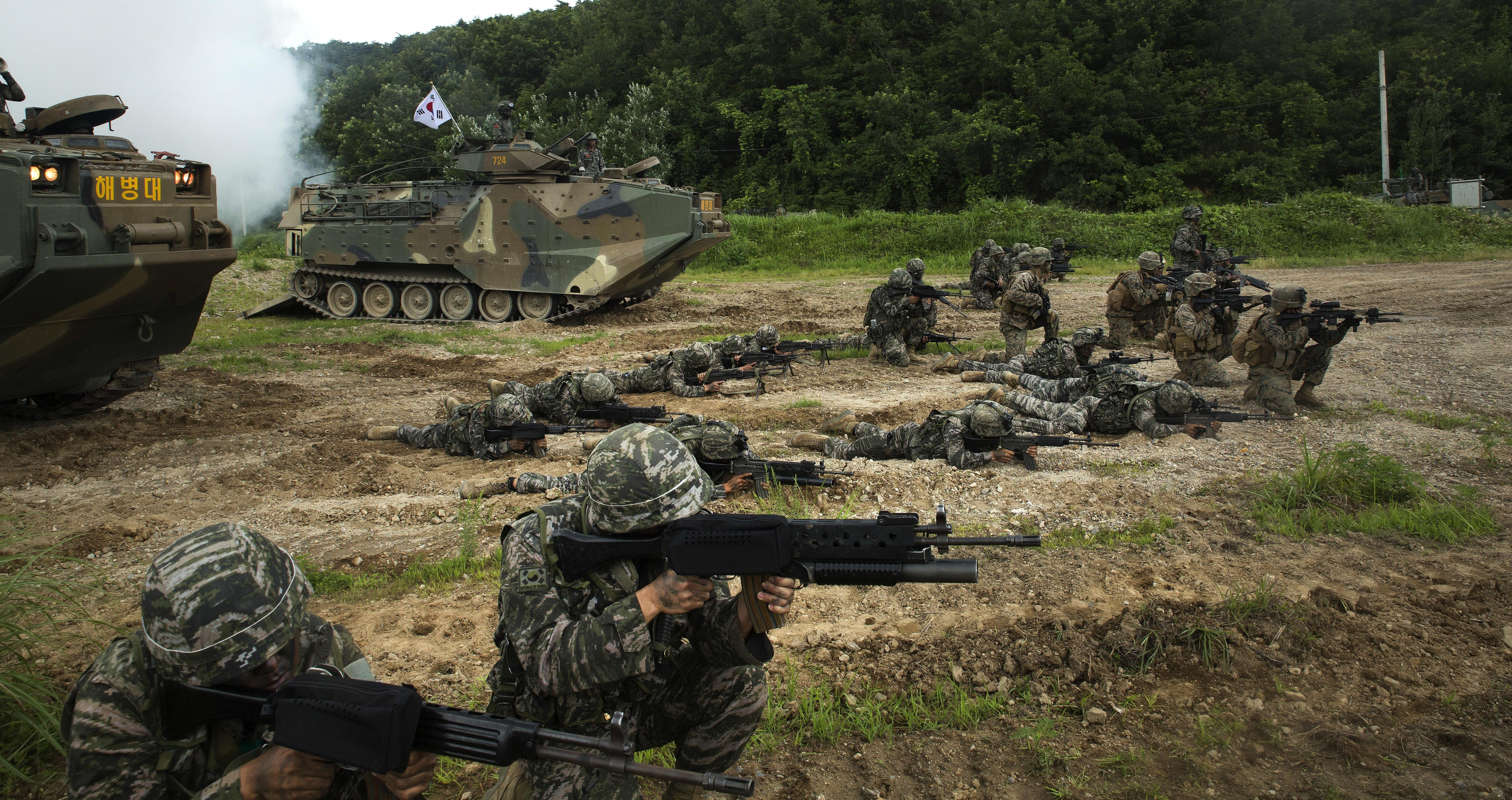 American And Republic Of Korea Marines Sight In Side By Front South Korean Assault Amphibious Vehicles During A Training Exercise At Suseong
