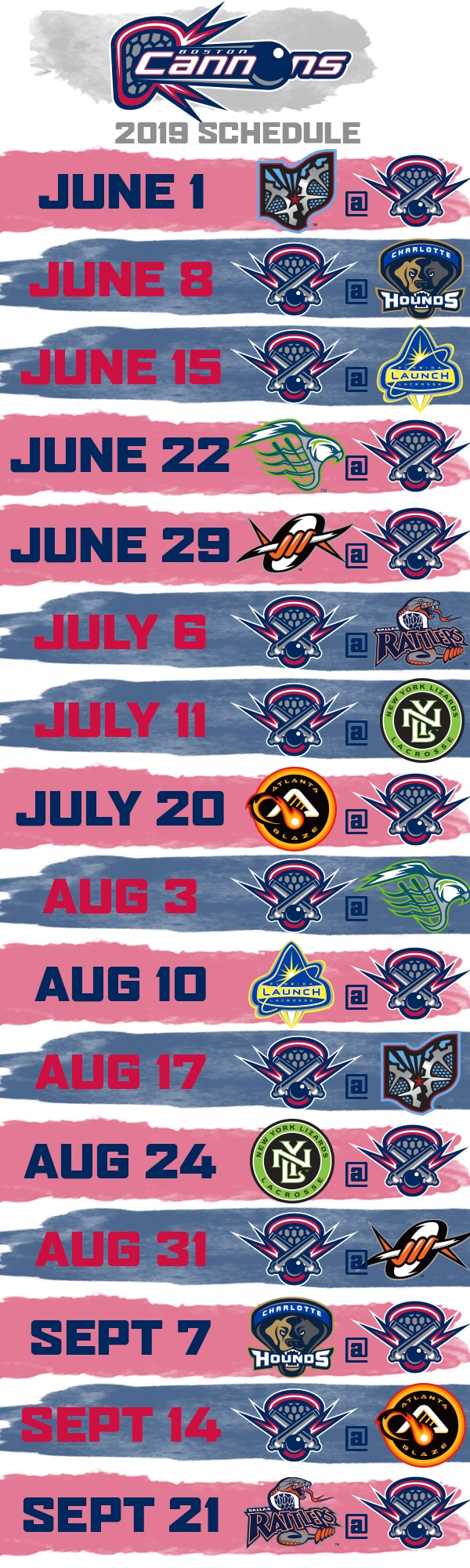2019 Cannons Schedule