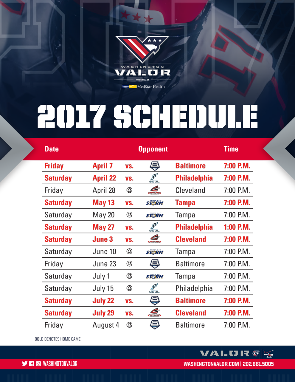 image regarding Washington Capitals Schedule Printable called 2017 Inaugural Routine Washington Valor