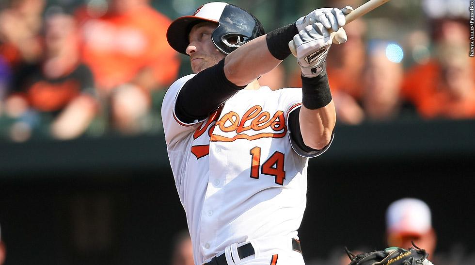 Orioles 2015: Nolan Reimold (swinging)