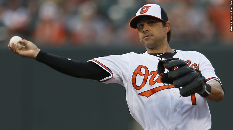 Orioles 2013: Brian Roberts (throwing)
