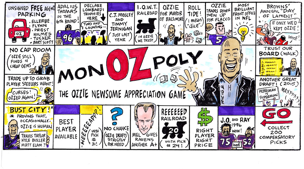 Issue 209: Ricig Cartoon: MonOZpoly, The Ozzie Newsome Appreciation Game