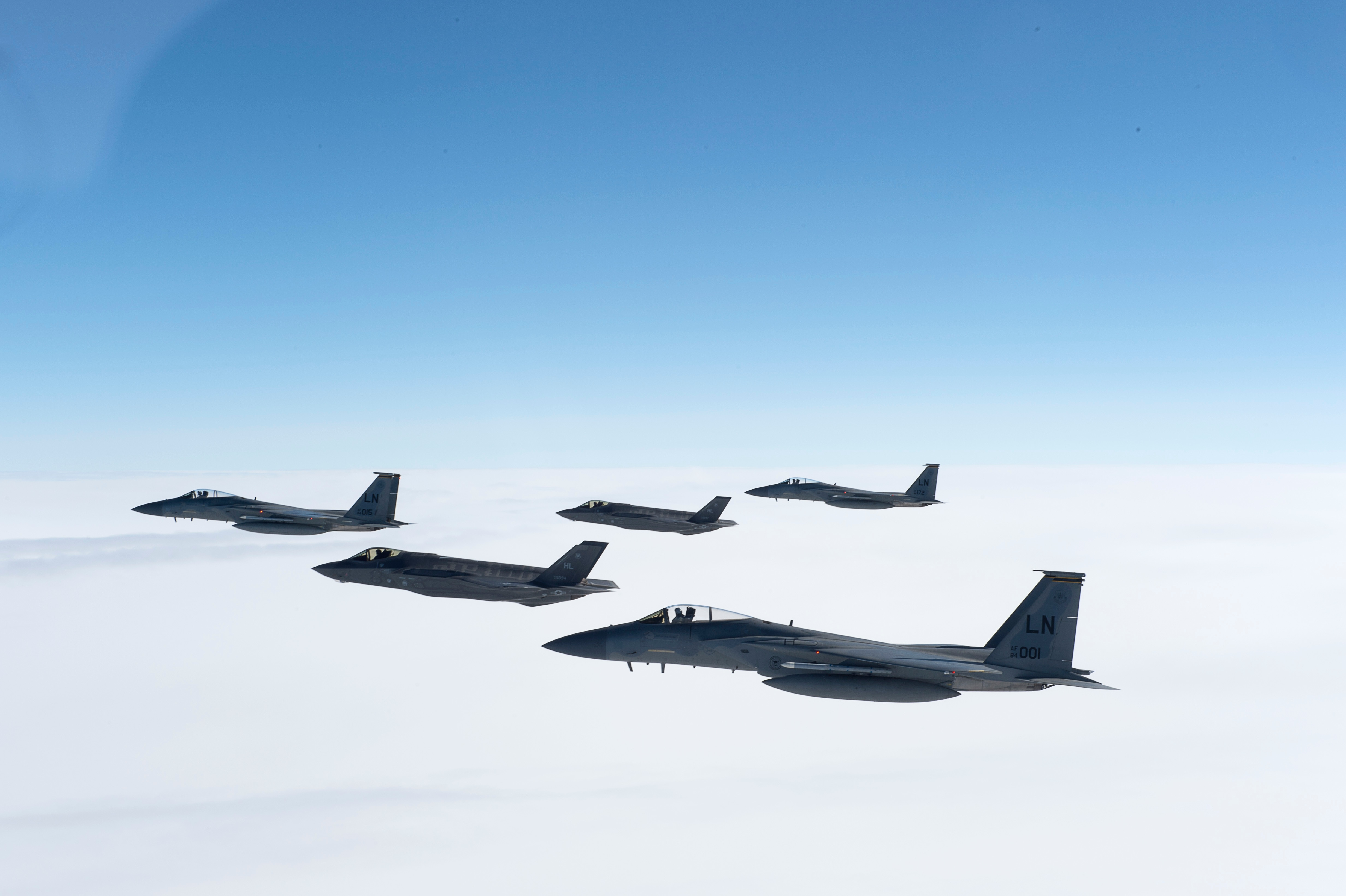 F-35A arrives in Europe, escorted by F-15C
