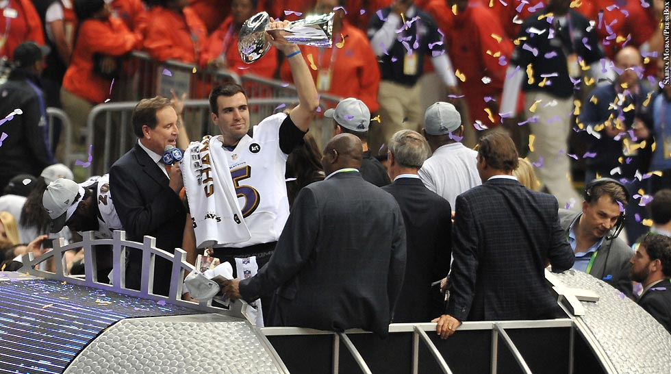 Ravens 2012: Super Bowl: Joe Flacco (with trophy)