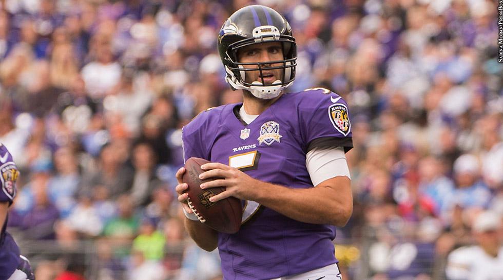 Ravens 2015: Joe Flacco (Week 8 vs. Chargers, both hands on football)