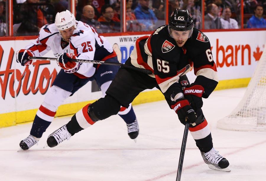 Jason Chimera chases Ottawa's Erik Karlsson