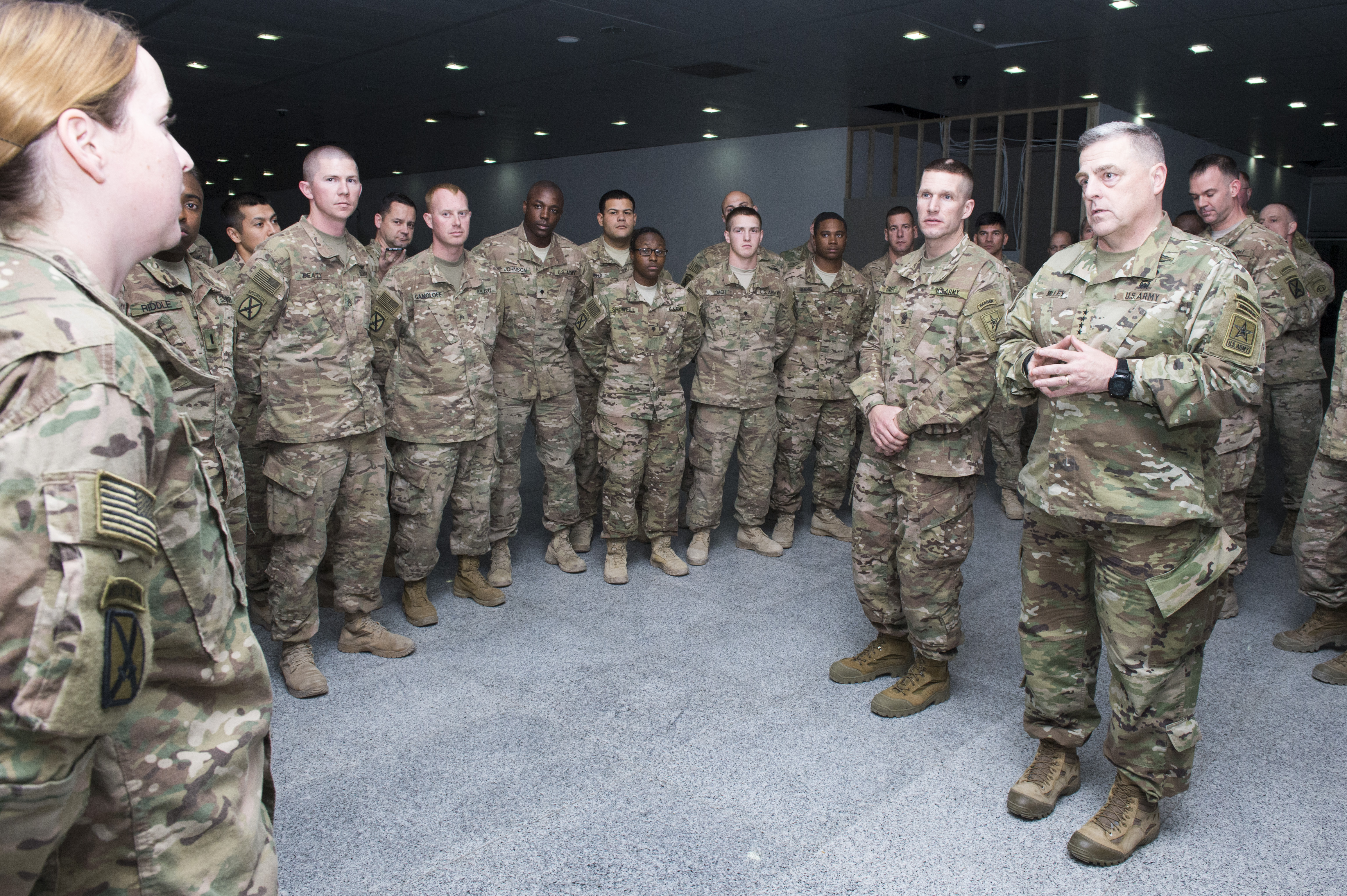 U.S. Army Chief of Staff, Gen. Mark A. Milley, discusses topics with Soldiers serving in the 10th Mountain Division, 7th Engineer Battalion in Erbil, Iraq, Dec. 18. Milley was on a five day tour of the U.S. Central Command area of responsibility for operat