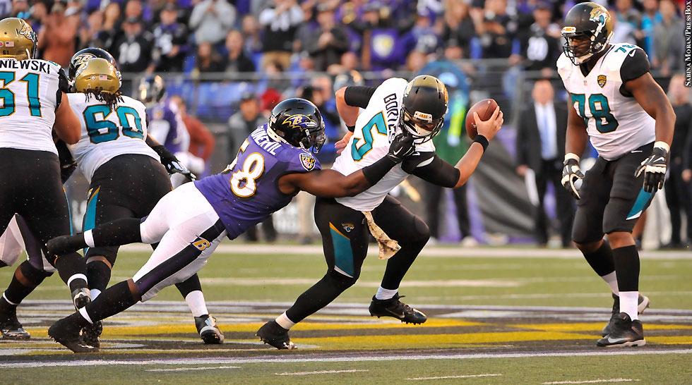 Ravens 2015: Elvis Dumervil (Week 10 vs. Jaguars, facemask penalty)