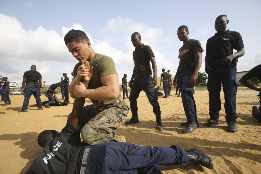 Marine teaches martial arts tactics in Benin