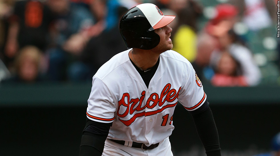 Orioles 2015: Chris Davis (watching hit)