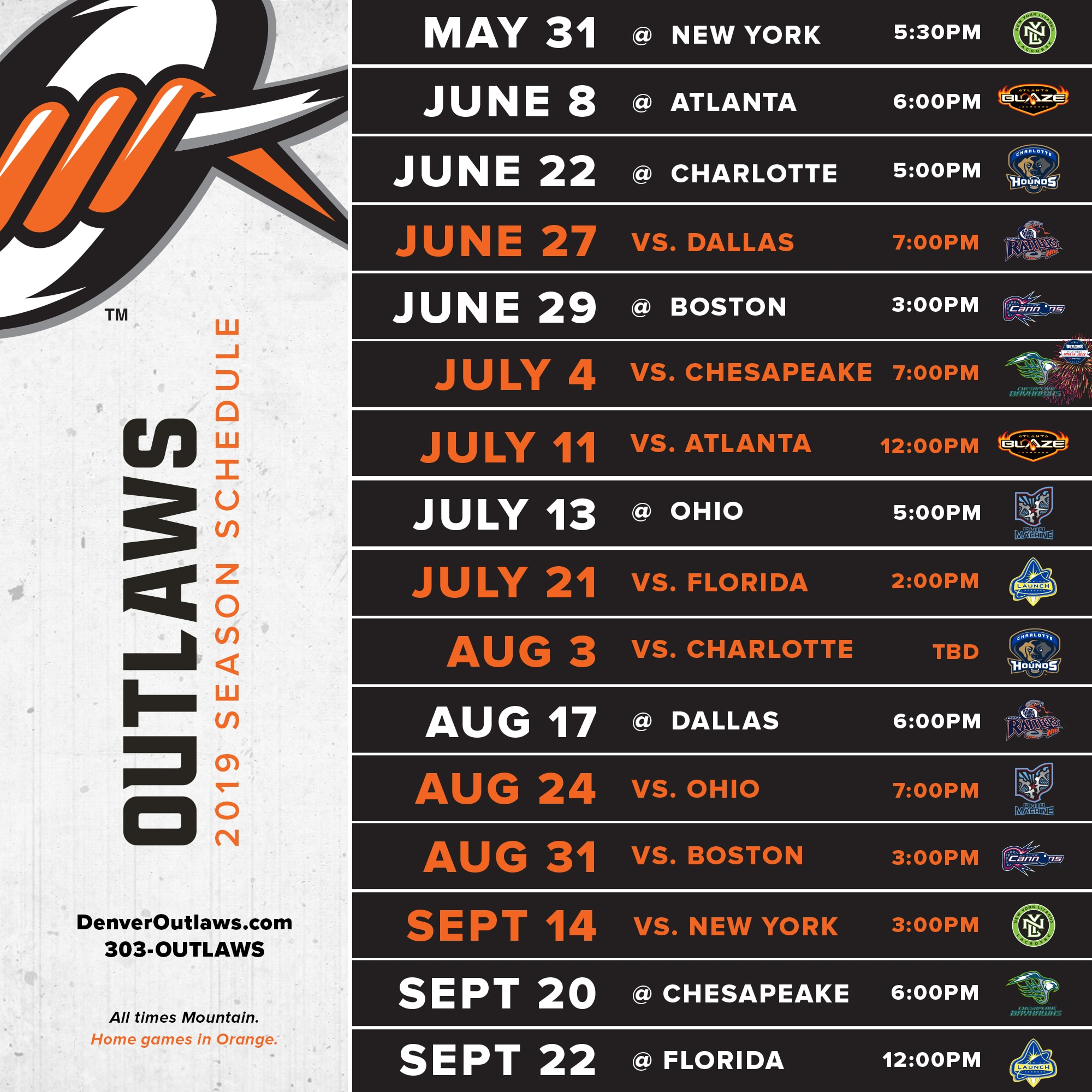 2019 Denver Outlaws Schedule Denver Outlaws
