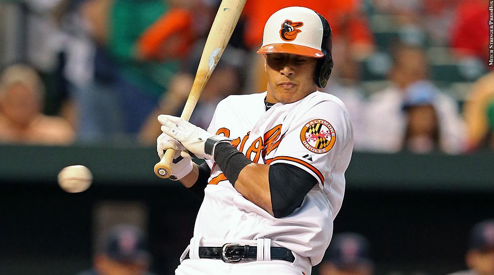 Orioles 2014: Manny Machado (brushback)