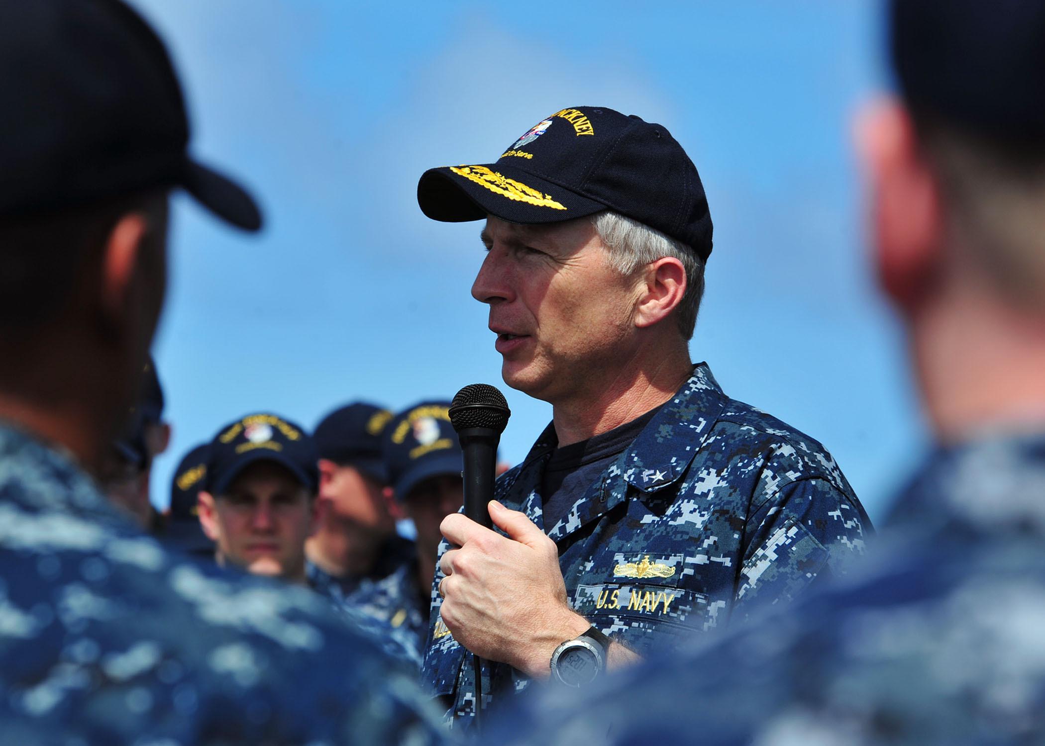 Faller aboard USS Pinckney
