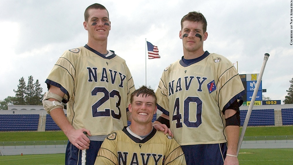 Navy: Lt. Brendan Looney with his brothers Billy and Stephen