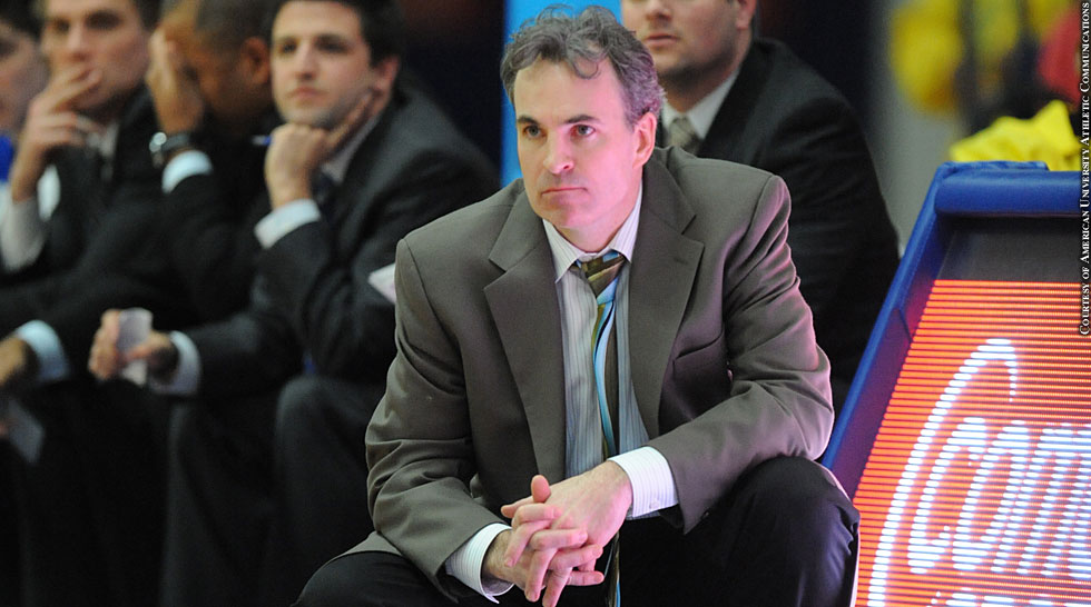 American University 2014: Men's Basketball Coach Mike Brennan (sideline)
