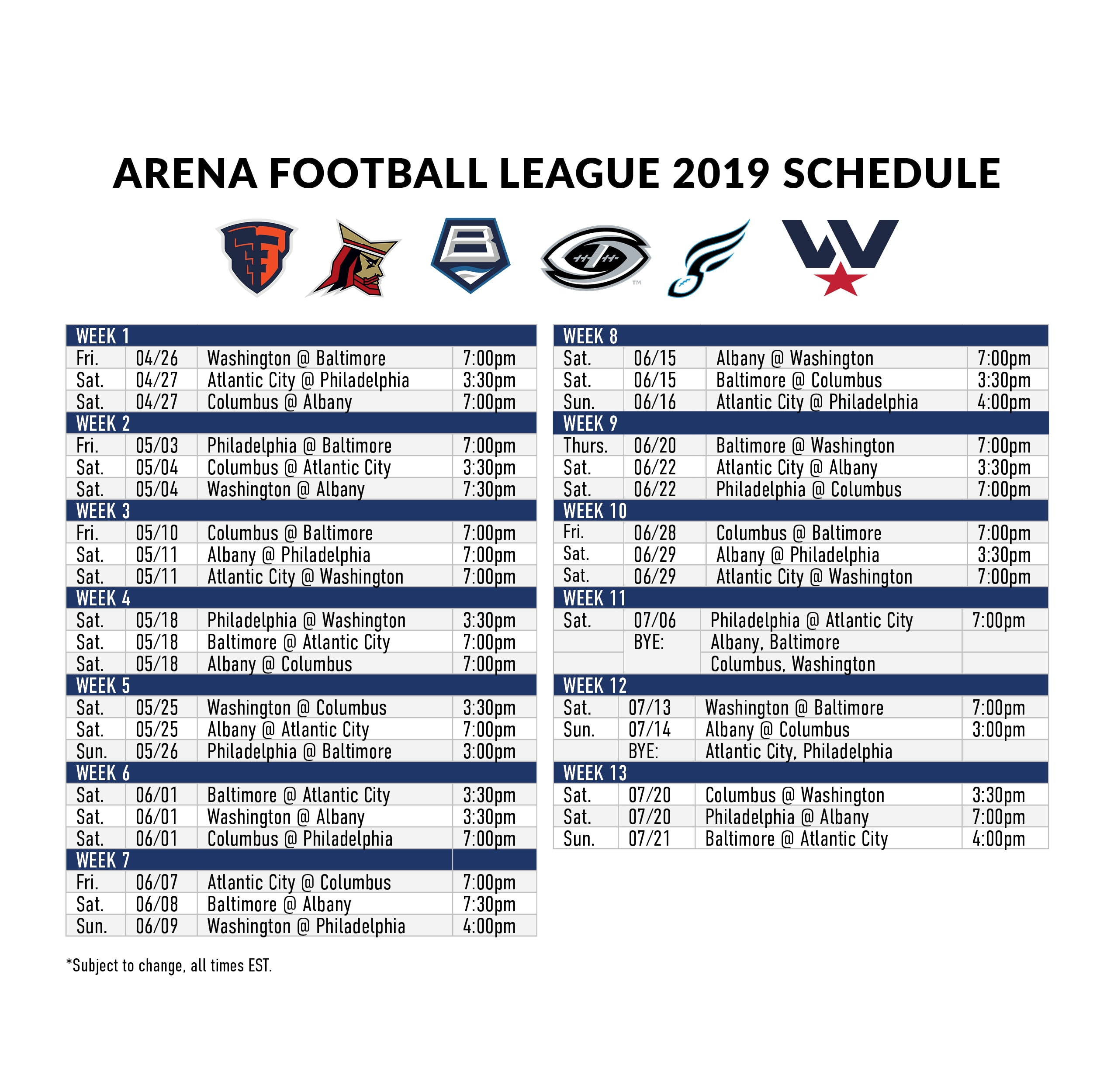 Arena Football Schedule 2019 2019 Schedule & Times   Arena Football League
