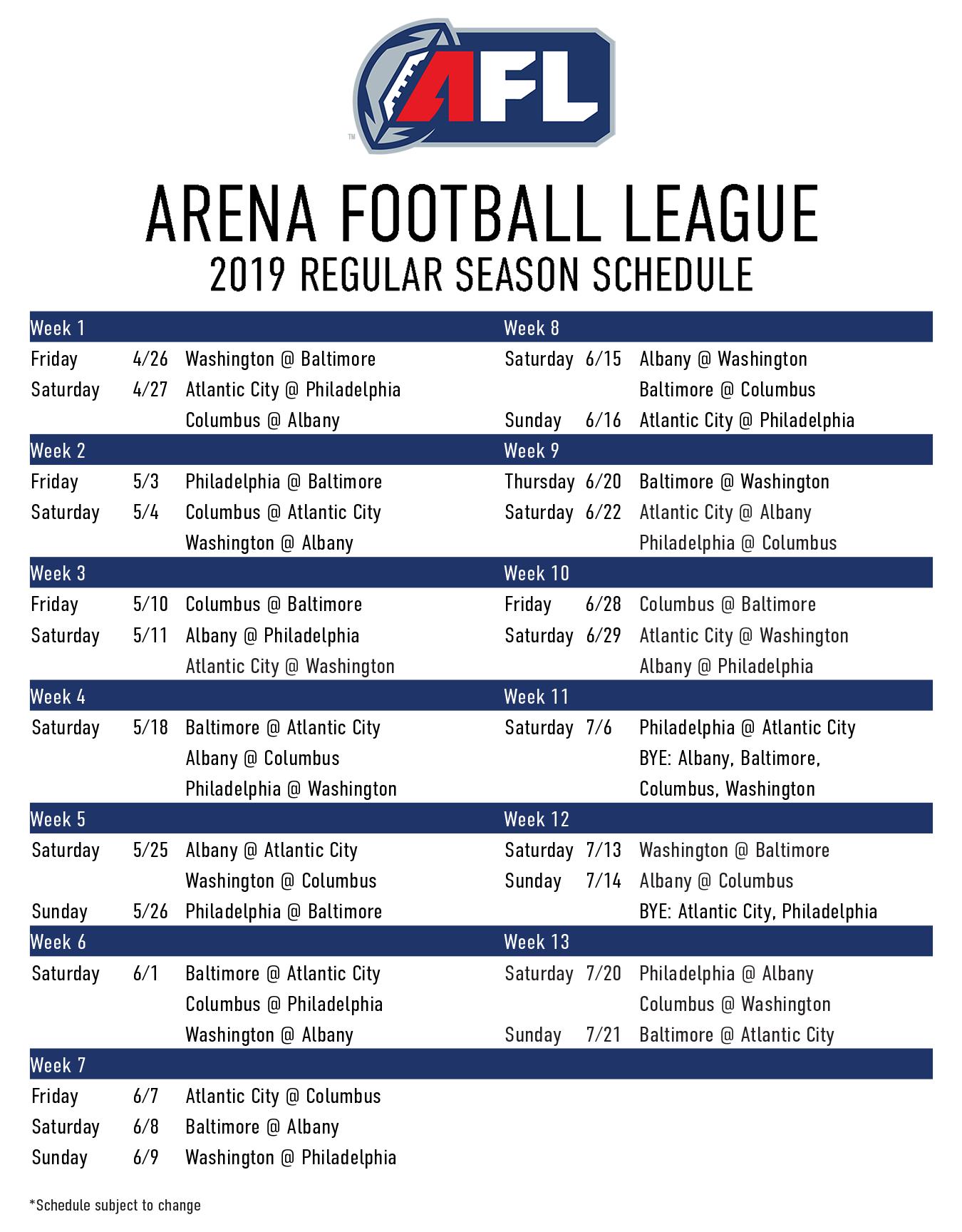 Arena Football Schedule 2019 2019 Regular Season Schedule   Arena Football League