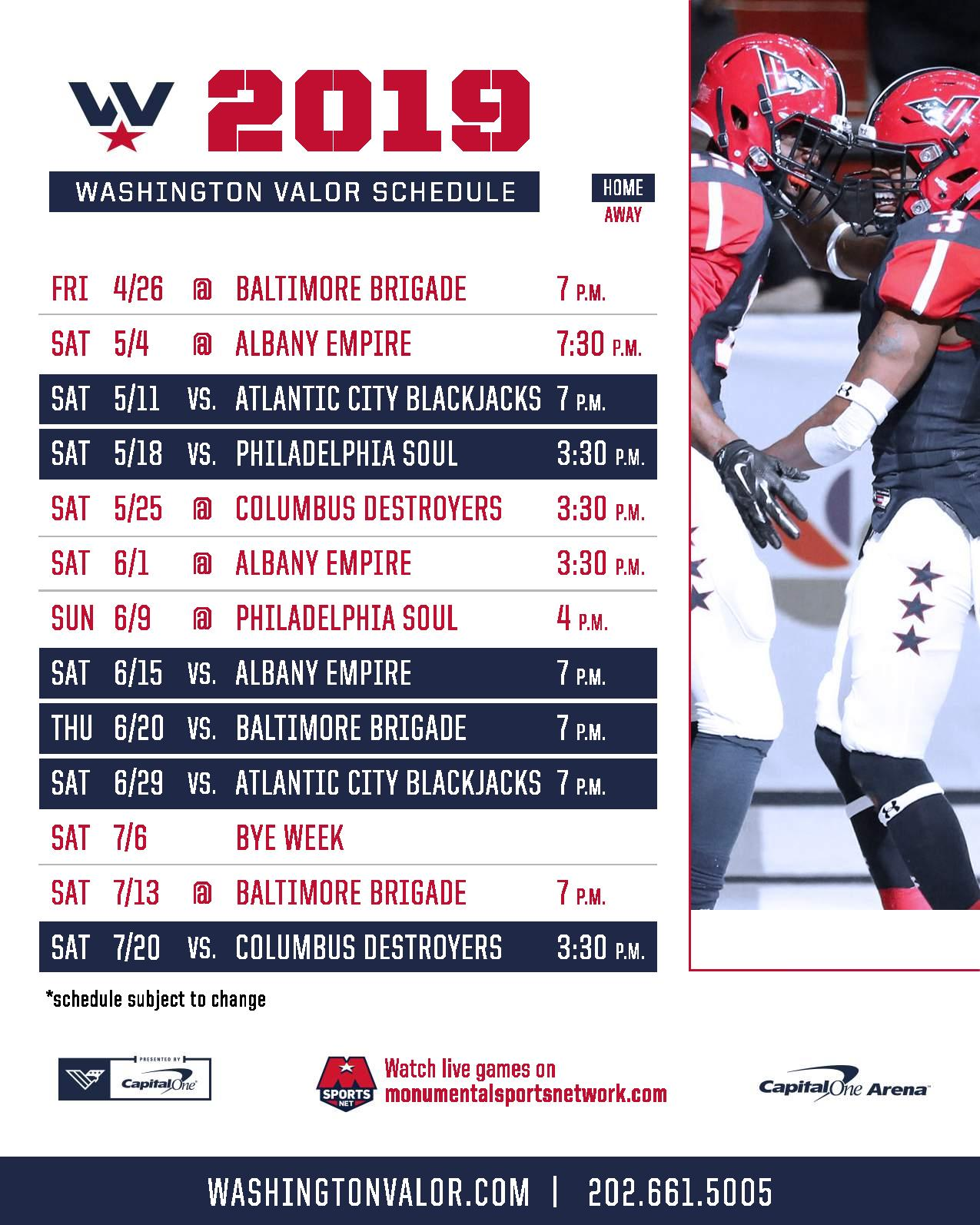 graphic relating to Washington Capitals Schedule Printable referred to as 2019 Valor Agenda Washington Valor
