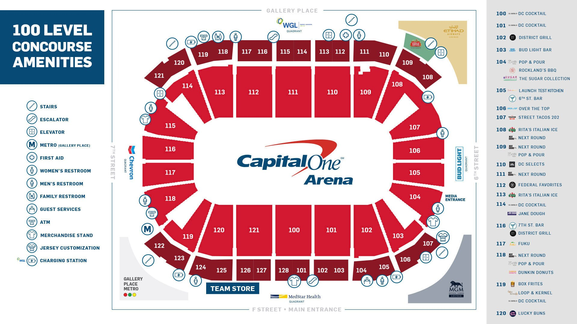 Main Concourse Amenities Guide Capital One Arena