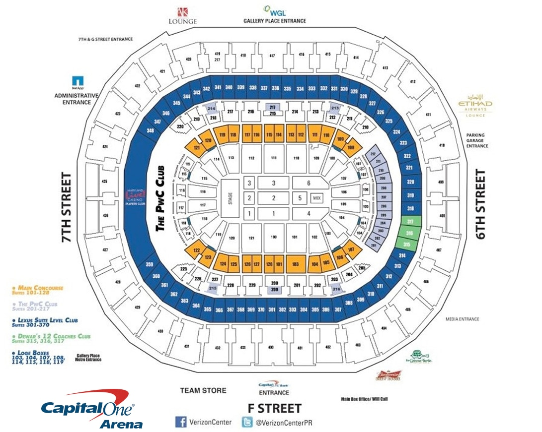 Capital One Arena Seating Charts For Concerts Events C Capital