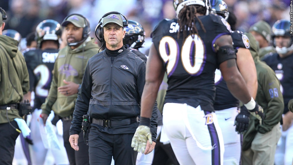 Ravens-2018-john-harbaugh-week-9-vs-steelers-with-zadarius-smith